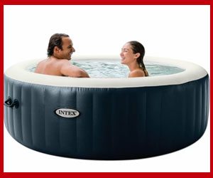 inflatable hot tub in basement