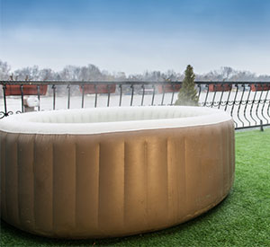 Inflatable Hot Tub on Deck